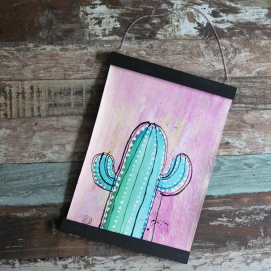 Handmålad poster - Kaktus 1, A3 Akryl - 750kr