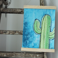 Handmålad poster - Kaktus 5, A3 Akryl - 750kr