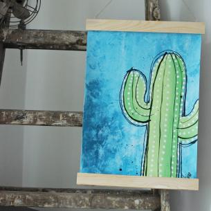 Handmålad poster - Kaktus 5, A3 Akryl - 350kr
