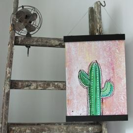Handmålad poster - Kaktus 6, A3 Akryl - 350kr